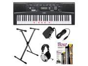 Yamaha EZ220 61-Key Portable Keyboard Bundle with X-style Stand + Headphones + PA130 AC Adapter and Alfred's Teach Yourself to Play Piano Book & DVD