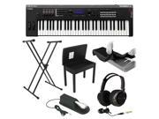 Yamaha MX61 61-Key Music Production Synthesizer with Yamaha FC4 Piano Style Sustain Pedal,  Flip-Top Bench, Full-Size Headphones, Keyboard Dust Cover Black and Lok-Tight Squeeze X-Style Keyboard Stand