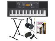 Yamaha PSRE343 61-Key Portable Keyboard + Yamaha AC Power Adapter + Single-X X-Style Keyboard Stand + Accessory Kit