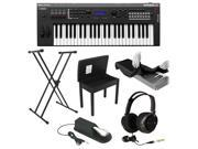 Yamaha MX49 49-Key Music Production Synthesizer with Yamaha FC4 Piano Style Sustain Pedal,  Flip-Top Bench,  Headphones, Keyboard Dust Cover Black + X-Style Keyboard Stand