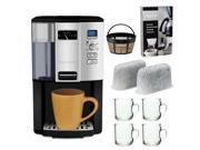 Cuisinart DCC3000 12-cup Programmable Coffeemaker + Gold Tone Basket Coffee Filter + Home Activated Coffee/ Espresso Descaler + Replacement Water Filters 2 Pack + 4 pcs 10oz ARC Handy Glass Coffe Mug