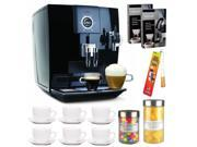 Jura-Capresso 13548 Impressa J6 Automatic Coffee and Espresso Center Piano Black + Home Activated Coffee/ Espresso Descaler + 6 (3 oz) Ceramic Tiara Espresso Cup and Saucers + Kit