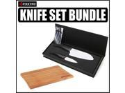 """Kyocera 2 Piece Ceramic Knife Gift Set with 12 x8"""" Bamboo Cutting Board"""