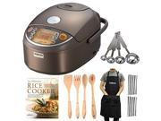 Zojirushi NP-NVC18 10- Cup Induction Heating Pressure Cooker and Warmer Bundle with Kitchen Textiles, Tools and Cookbook