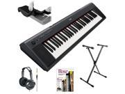 Yamaha NP11 61 Key Portable Keyboard + 61/76-key Electronic Keyboard Dust Cover Black + FastTrack Keyboard Method Starter Pack + HP10 Stereo Headphones + Lok-Tight Pro X-Style Keyboard Stand