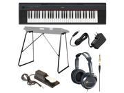 Yamaha Piaggero NP11 61-Key Lightweight Compact Portable Keyboard Bundle with Yamaha L3C Attachable Stand, Full-size Stereo Headphones, Yamaha PA130 AC Adaptor and Sustain Pedal