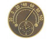 Solstice Outdoor Aluminum Thermometer & Clock (French Bronze)
