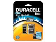 Duracell DEMDU3IN1C1008GRB Class 10 Microsd Card With Sd & Usb Adapters 8gb