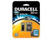 Duracell DEMDU3IN1C1032GRB Class 10 microSD Card with SD And USB Adapters