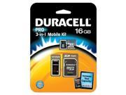 Duracell DEMDU3IN1C1016GRB Duracell DU-3IN1C1016G-R 16GB MicroSD C10 with 2 Adapters