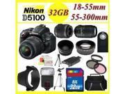 Ultimate Zoom KIT!! Nikon D5100 Digital SLR Camera w/18-55mm Lens + 55-300mm Lens + Full Accessory KIT