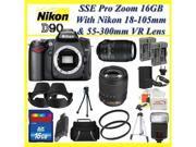 Nikon D90 SLR Digital Camera Kit with Nikon 18-105mm VR Lens and Nikon AF-S NIKKOR 55-300mm f/4.5-5.6G ED VR Zoom Lens + Best Value 16GB, Lens & Tripod Deluxe Accessory Package