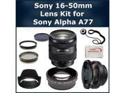 Sony 16-50mm Lens Kit for Sony Alpha SLT-A77 DSLR Camera. Package Includes: Sony 16-50mm f/2.8 Standard Zoom Lens, 2X Telephoto Lens, 0.45X Wide Angle Lens, 3 Piece Filter Kit(UV-CPL-FLD), Lens Hood,