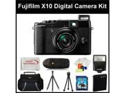 Fujifilm X10 Digital Camera Kit Includes: Replacement Battery, 16GB SD Card, Memory Card Reader, Camera Flash, Gripster Tripod, Starter Kit, SSE Microfiber Cleaning Cloth, and Soft Carrying Case