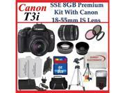 Canon EOS Rebel T3i SLR Digital Camera with Canon 18-55mm Is Lenses with Wide Angle Macro Lens, 2x Telephoto Lens and Accessory Package
