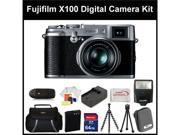 Fujifilm X100 Digital Camera Kit Includes: Fujifilm X-100 Camera, Extended Life Replacement Battery, Rapid Travel Charger, 64GB Memory Card, Memory Card Reader, Camera Flash, Gripster Tripod & More
