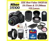 Nikon D5100 Digital SLR Camera with Nikon 18-55mm VR Lens, Nikon 55-200mm VR Lens, 3 Extra Lens,  16GB SDHC Memory Card, Plus More