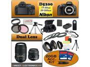 Nikon D5200 24.1 MP Digital SLR Camera (Black) With Nikon 18-55mm Lens, And 55-300mm Lens including our Huge Accessory Package