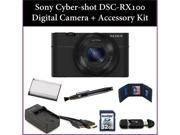 Sony Cyber-shot DSC-RX100 Digital Camera + Accessory Kit. Includes:32GB Memory Card, Memory Card Reader, Battery, Charger, Lens Pen & More DSCRX100/B