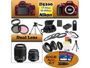 Nikon D5200 24.1 MP Digital SLR Camera (Red) With Nikon 18-55mm Lens, And 55-200mm G Lens including our Huge Accessory Package