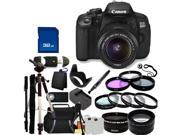 Canon 650D / EOS Rebel T4i Digital Camera with EF-S 18-55mm  IS II Len. Includes: Wide Angle & Telephoto Lenses, 3 Piece Filter Kit (UV-CPL-FLD), 4 Piece Macro Filter Set (+1,+2,+4,+10), Tripod & More