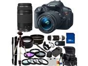 Canon EOS Rebel T5i DSLR Camera with EF-S 18-55mm f/3.5-5.6 IS STM & 75-300mm f/4.0-5.6 III Lenses. Includes: Wide Angle & Telephoto Lenses, 7 Professional Filters, Tripod, Monopod, Case & More
