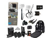 GoPro HERO3: Silver Edition Camera (CHDHN-301) + Action Pro Series All In 1 Outdoors Kit for flat surface -helmet biking, skydiving, surfing, horsebackriding, freerunning + Extra Necessary Accessories