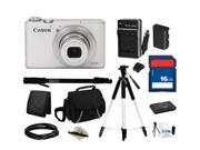 Canon Everything You Need Kit 6799B001 - PowerShot S110 White Approx. 12.1 MP 5X Optical Zoom 24mm Wide Angle Digital Camera HDTV Output