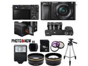 Sony Alpha A6000 Mirrorless Digital Camera with 16-50mm Lens (Black) Essential Bundle