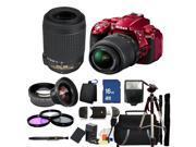 Nikon D5300 Digital SLR Camera With 18-55mm Lens & 55-200mm VR Kit (Red)