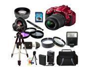 Nikon D5300 Digital SLR Camera With 18-55mm Lens Kit 3 (Red)