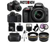 Nikon D3300 1532 Black Digital SLR Camera with 18-55mm VR Lens Essential 32GB Bundle