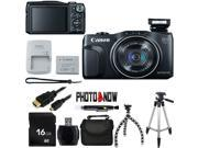 Canon PowerShot SX700 HS 9338B001 Black 16.1 MP 25mm Wide Angle Digital Camera HDTV Output With Essential Bundle