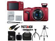 Canon PowerShot SX700 HS 9339B001 Red 16.1 MP 25mm Wide Angle Digital Camera HDTV Output With Essential Bundle