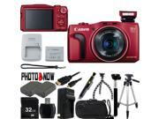 Canon PowerShot SX700 HS 9339B001 Red 16.1 MP 25mm Wide Angle Digital Camera HDTV Output With Advanced Bundle