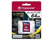 Transcend 64GB SDXC Class 10 UHS-I 80MB/Sec Flash Memory Card Model TS64GSDXC10U1
