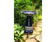 Burley Clay Zanesville Glazed Cobalt Blue Ceramic Bird Bath Made In the USA