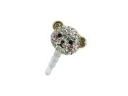 MiniSuit Universal Cell Phone Dustplug Ear Jack Cap Cute Crystal Bear 3.5mm (Gold)