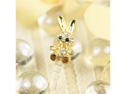 MiniSuit Bunny Rabbit Universal Cell Phone Dustplug for 3.5mm Earphone Jack Cap (Crystal with Gold Accents)