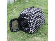 Folding Pet Carrier Dog Cat Travel Bag Collapsible Crate Tote Handbag Shoulder Strap Black&White checkered Travel cage
