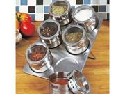 6 Piece Stainless Steel Magnetic Spice Jars and Rack with See Through Lids Space Saver