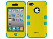 Apple iPhone 4 4S Hard Hybrid Case Cover Rubberize Silicone TUFF Yellow-Blue