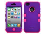 Apple iPhone 4 4S Hard Hybrid Case Cover Rubberize Silicone TUFF Purple-Pink