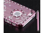 Pink ~ Aluminum Bling Crystal Chrome Hard Case Cover For Apple iPhone 5 + Stylus Pen