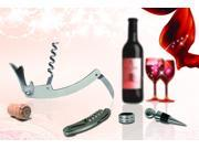 New 3PC Multi-function Corkscrew Bottle Opener Kit with Stopper and Drip Collar