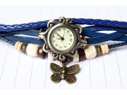 New Beautiful ,Fashionable and attractive Bohemian style Retro Handmade Leather Women's Watches for Beauty-Blue