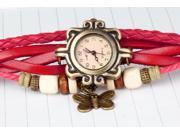 New Beautiful ,Fashionable and attractive Bohemian style Retro Handmade Leather Women's Watches for Beauty-Red