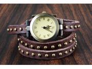 New! Retro Rivet Belt Style Genuine Leather Band Fashion Watch-Chocolate
