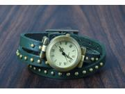 New! Retro Rivet Belt Style Genuine Leather Band Fashion Watch-Green