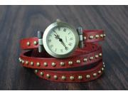 New! Retro Rivet Belt Style Genuine Leather Band Fashion Watch-OrangeRed